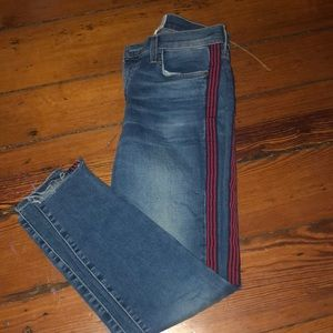 Blue jeans with red and navy stripe